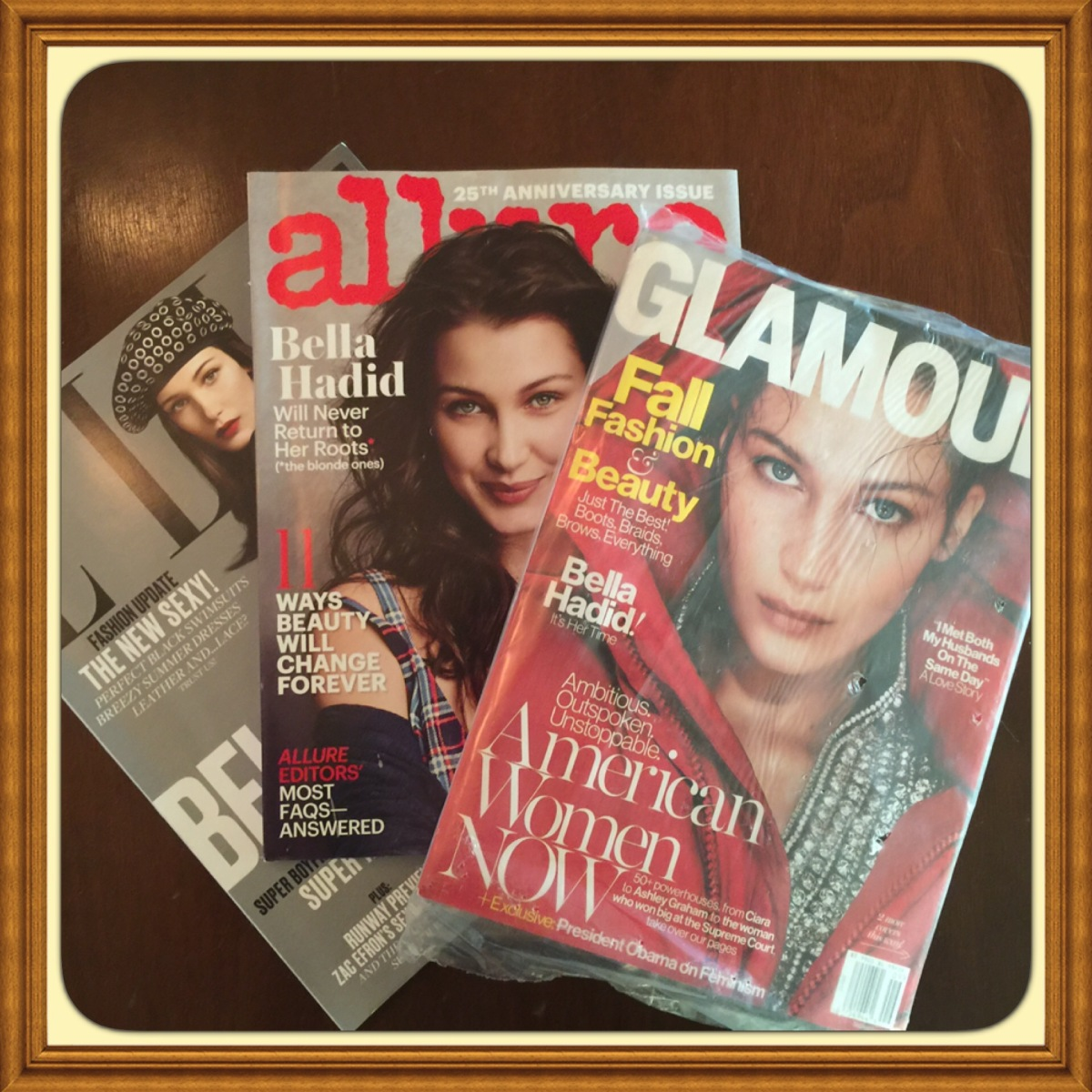 Lot X3 BELLA HADID  Magazines Glamour, Elle & Allure 2016 Brand New Issues Celebrity Fan Collectible Issues #TT911-MGBUN-187-3